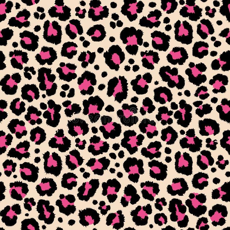 Dżungla safari lamparta wzoru egzotycznej tekstury wielostrzałowy bezszwowy różowy czarny druk ilustracji