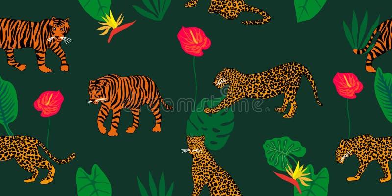 Dżungla sen Zwierzęcy druk z etnicznymi motywami ilustracja wektor