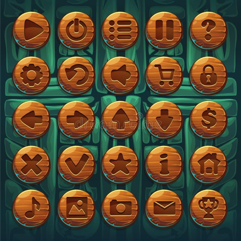 Dżungla szamanów GUI setu guziki royalty ilustracja