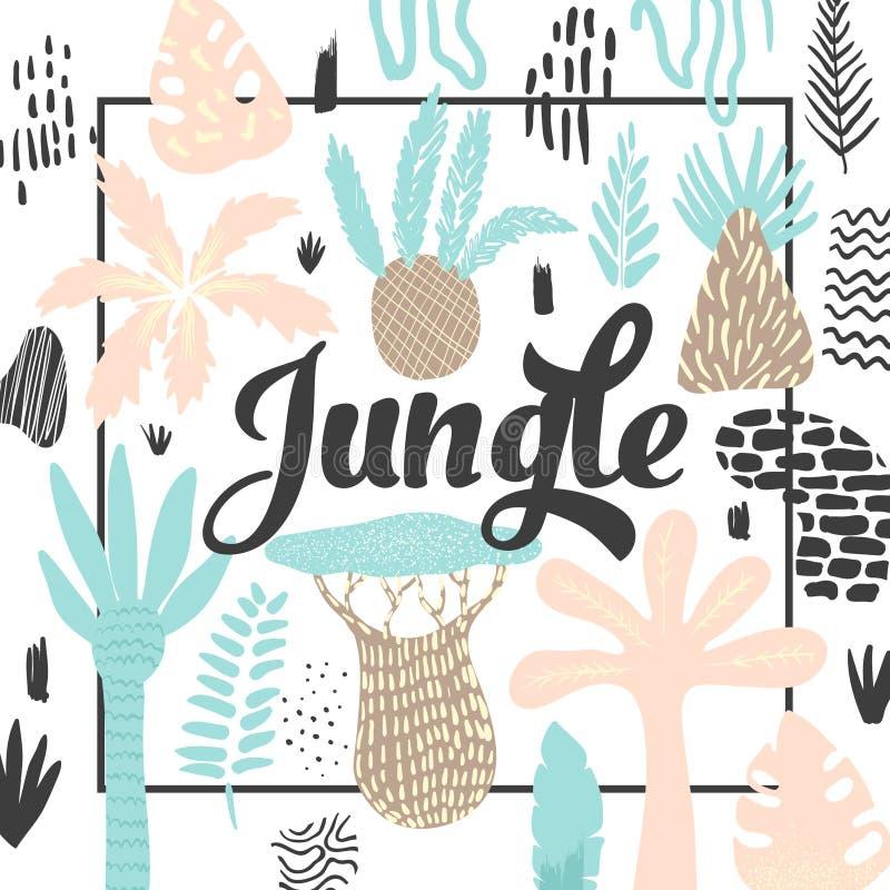 Dżungla Tropikalny projekt w Dziecięcym stylu Kwiecisty tło z Egzotycznymi drzewami i Abstrakcjonistycznymi elementami ilustracji