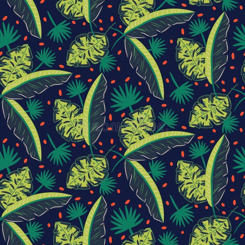 Dżungli drewien wzór Zielony zmrok - błękitny abstrakt textured wektorowego tło royalty ilustracja