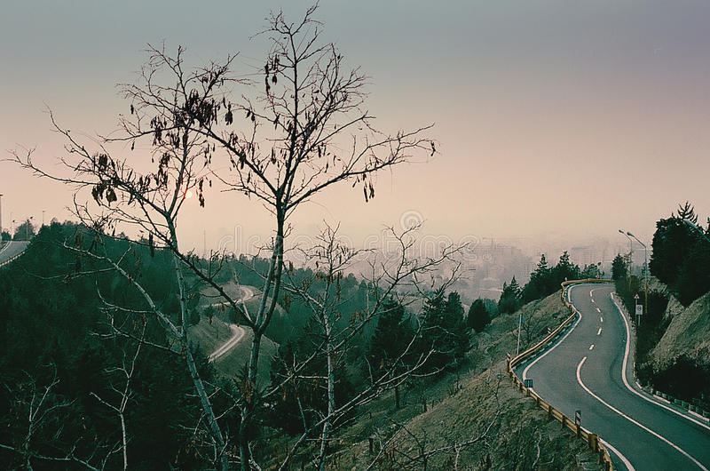 Dżungli droga W wieczór w Teheran obraz stock