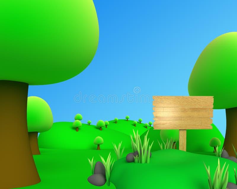 Dżungli outdoore obrazka widok z deską ilustracja wektor