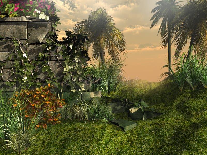 Dżungli ruiny ilustracja wektor