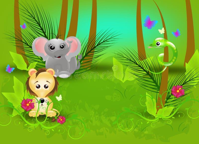 Dżungli tło z zwierzętami royalty ilustracja