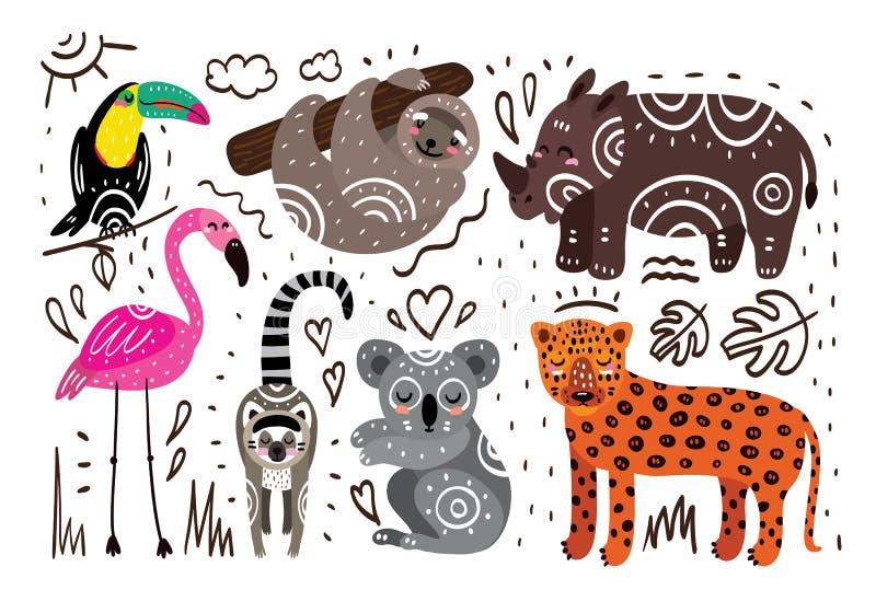 Dżungli zwierzęta ilustracji