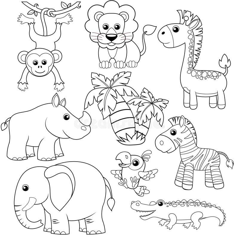Dżungli zwierzęta Lew, słoń, żyrafa, małpa, papuga, krokodyl, zebra i nosorożec, ilustracji