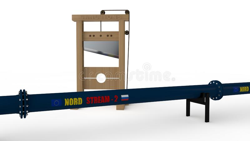 3D'北部小河'管道和断头台的例证 想法我们对俄罗斯的制裁在建筑  皇族释放例证
