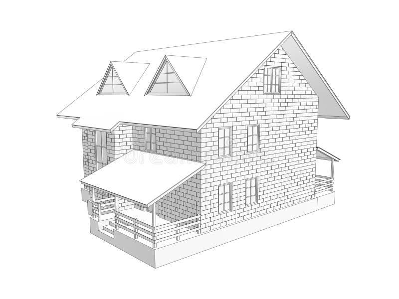 3d一个两层村庄房子的例证 线性和音调的图画 从块的墙壁 2图 皇族释放例证