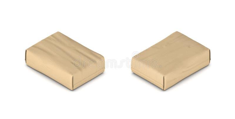 3d一个充分的闭合的纸水泥袋子的翻译在两面的等轴测图的 向量例证