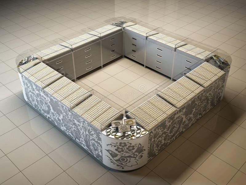 3D一个出口的例证在金子中销售的大型超级市场和 皇族释放例证