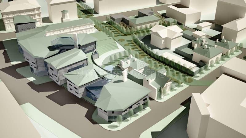 3d一个城市环境的模型 向量例证