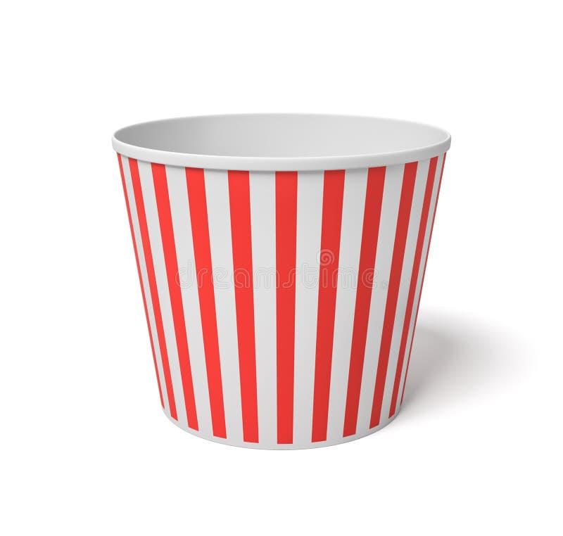 3d一个大玉米花桶的翻译有站立红色和白色的条纹的完全地空在白色背景 库存例证