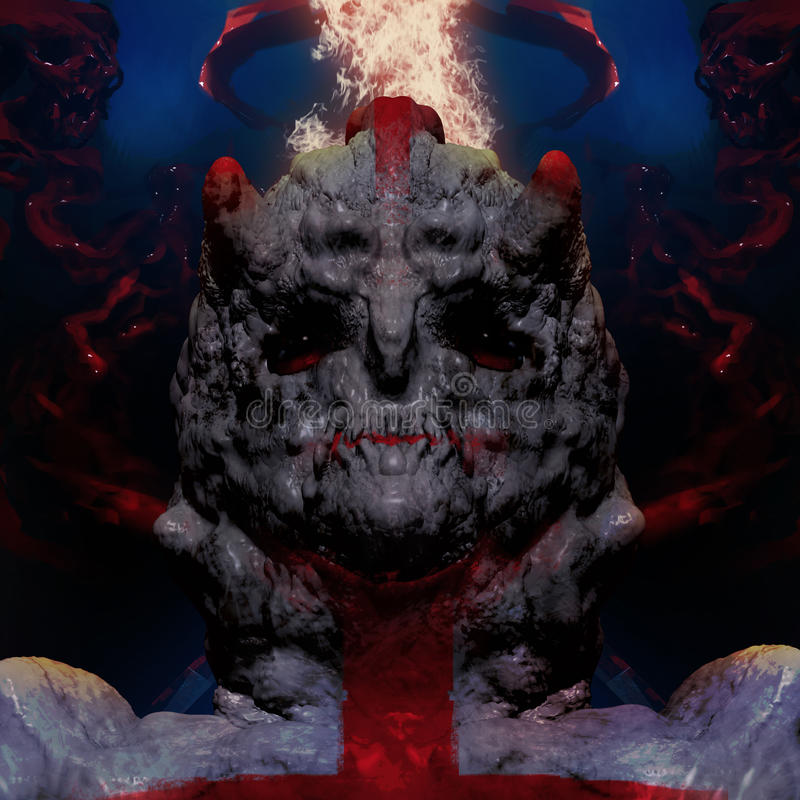 3D一个妖怪头的例证有绯红色背景 库存例证