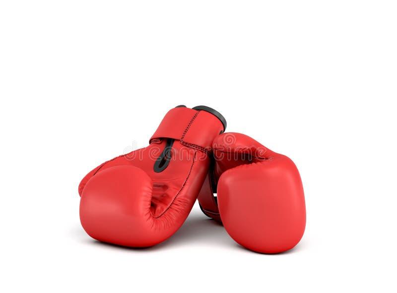 3d一个对的翻译说谎接近彼此的红色拳击手套在白色背景 皇族释放例证