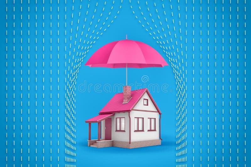 3d一个小家庭房子的翻译站立在保护房子免受象征性的一把大开放桃红色伞下 免版税库存图片
