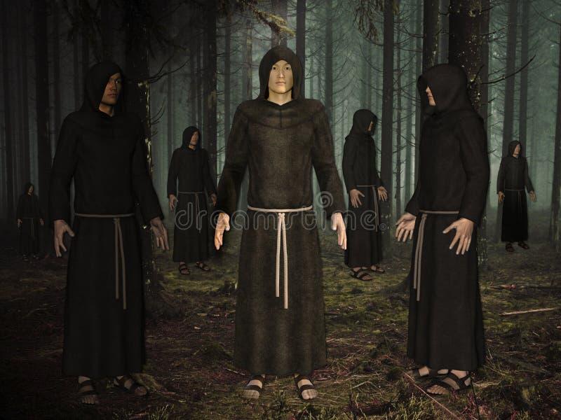 3D一个小组的例证修士在有薄雾的森林里 皇族释放例证