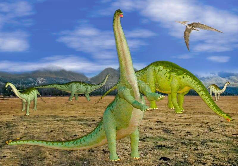 3D一个小组的例证在领域的恐龙 向量例证