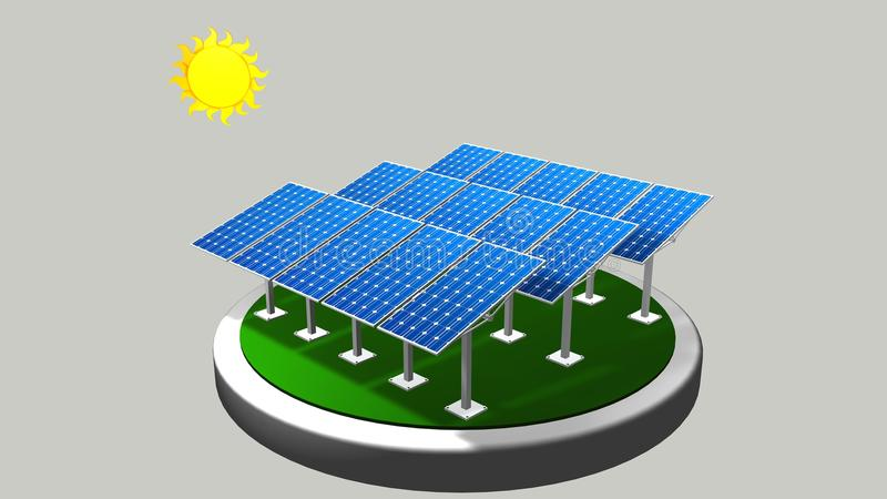 3D一个小组的模型走太阳的道路的太阳电池板与白色背景-可再造能源 皇族释放例证