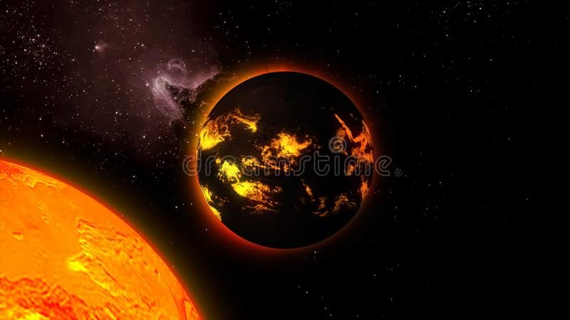 3d一个星的例证与熔岩流的在空间的表面上 向量例证