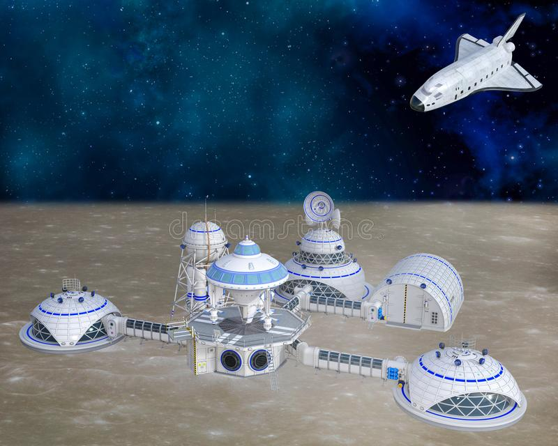 3D一个未来派月亮基地前哨基地的例证 皇族释放例证