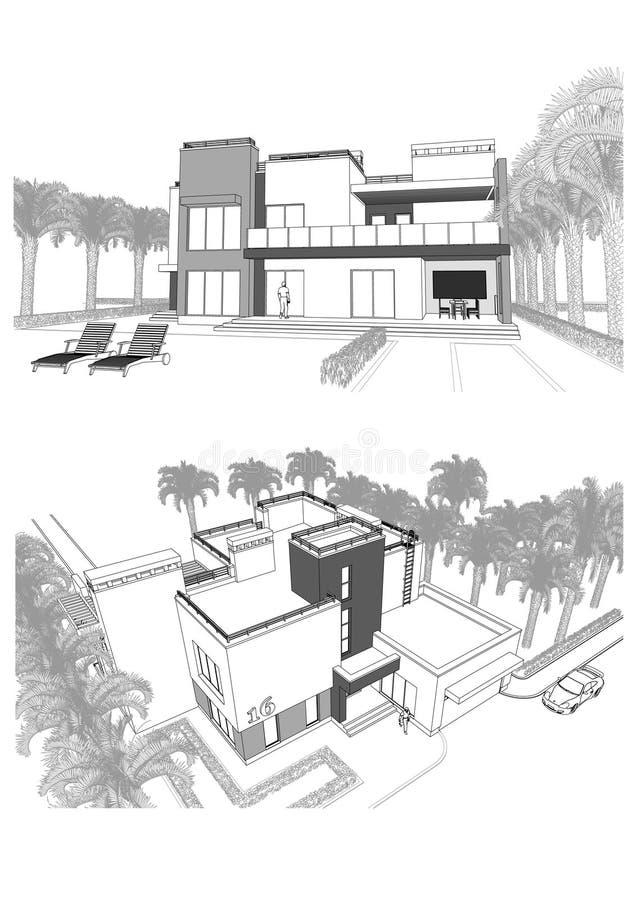 3d一个现代私有大厦的剪影与大阳台的,围拢由棕榈树,不同的观点 向量例证