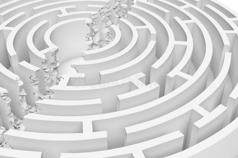 3d一个白色圆的迷宫的翻译有隆隆声一条直线打破的它的墙壁的划分在一半的迷宫 库存例证