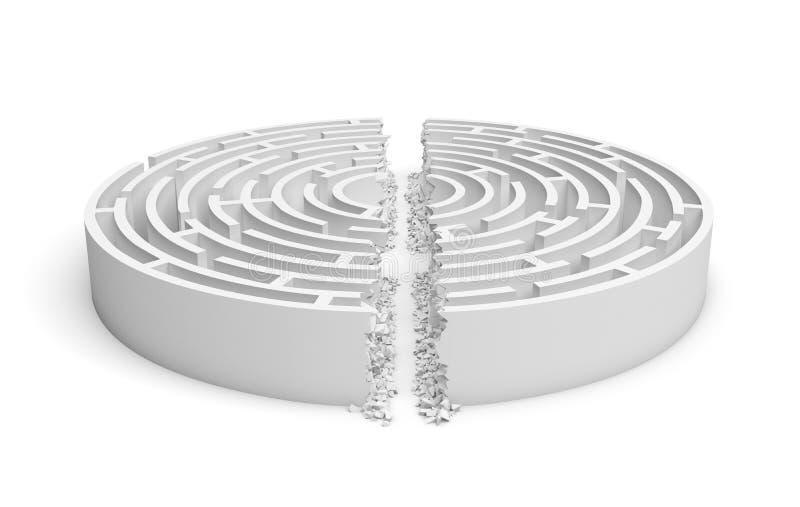 3d一个白色圆的迷宫的翻译有隆隆声一条直线打破的它的墙壁的划分在一半的迷宫 皇族释放例证