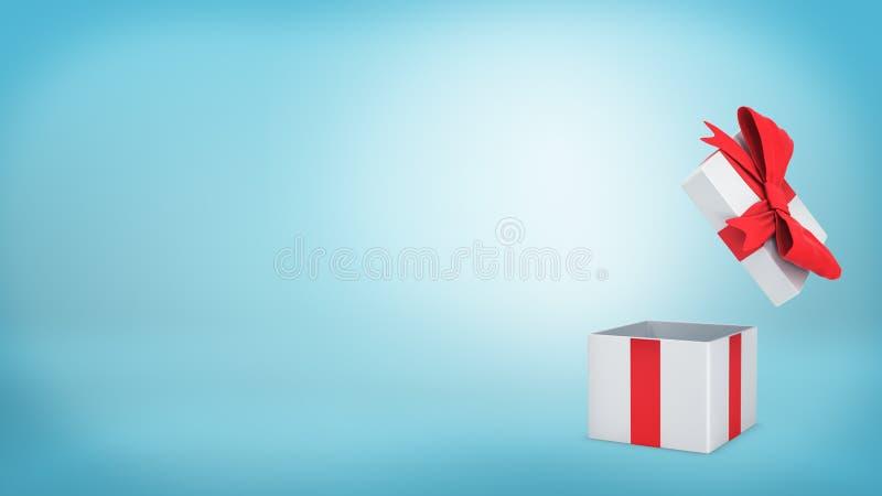3d一个白色礼物盒的翻译有一条红色丝带和弓立场的在蓝色背景打开 向量例证