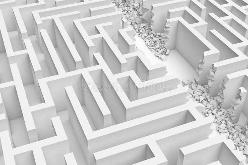 3d一个白色迷宫的翻译在前面底视图的在一半的直线切开了与在边缘的瓦砾 库存例证