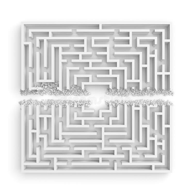 3d一个白色迷宫的翻译在前面底视图的在一半的直线切开了与在边缘的瓦砾 向量例证