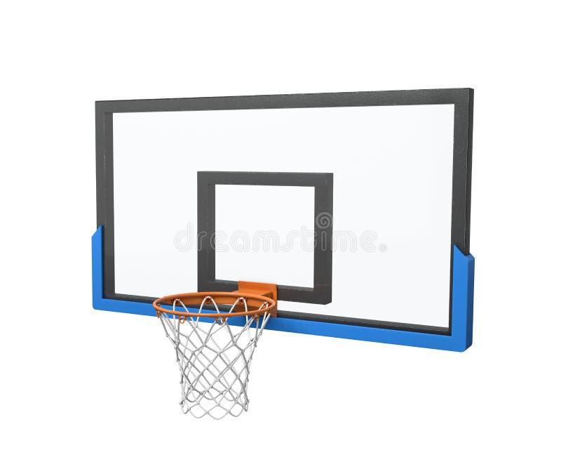 3d一个篮球篮的翻译与一张空的篮子和透明蓝球板的 库存例证