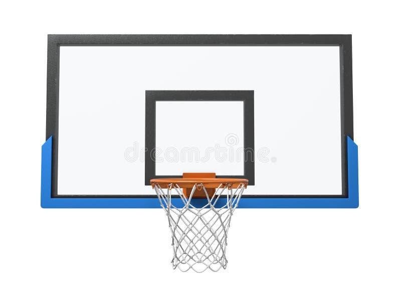 3d一个篮球篮的翻译与一张空的篮子和透明蓝球板的 免版税图库摄影