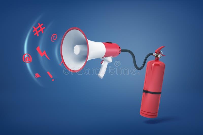 3d一个红火灭火器的翻译有水管的附在有飞行在它外面的奇怪声音的一台扩音机 免版税库存图片