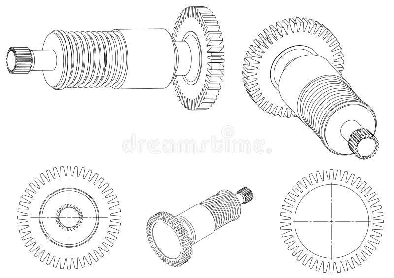 3d一个钝齿轮的模型在白色的 向量例证