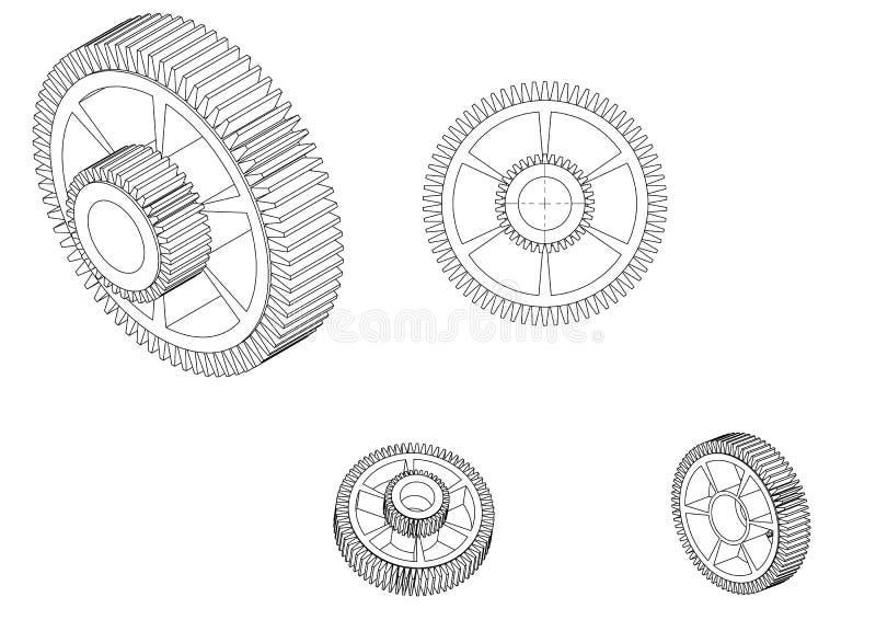 3d一个钝齿轮的模型在白色的 皇族释放例证
