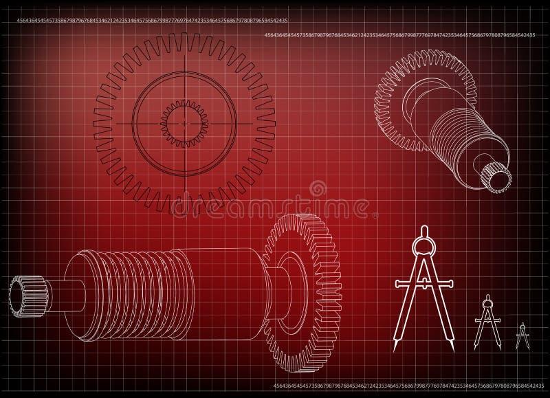 3d一个钝齿轮的模型在红色的 库存例证