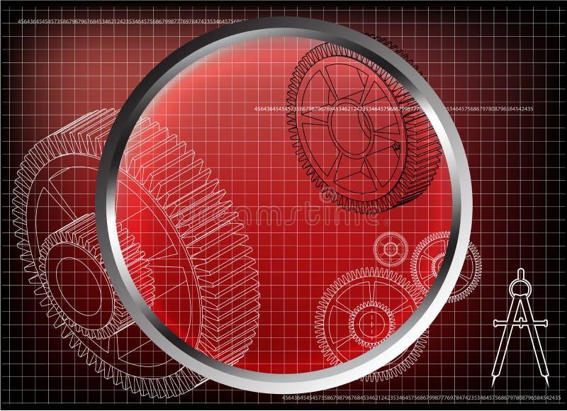 3d一个钝齿轮的模型在红色的 向量例证