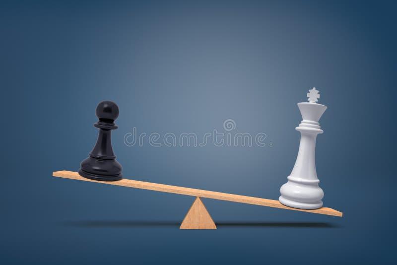 3d一个黑棋典当片断的翻译丢失给一个木跷跷板的一位overweighing的白国王 库存图片