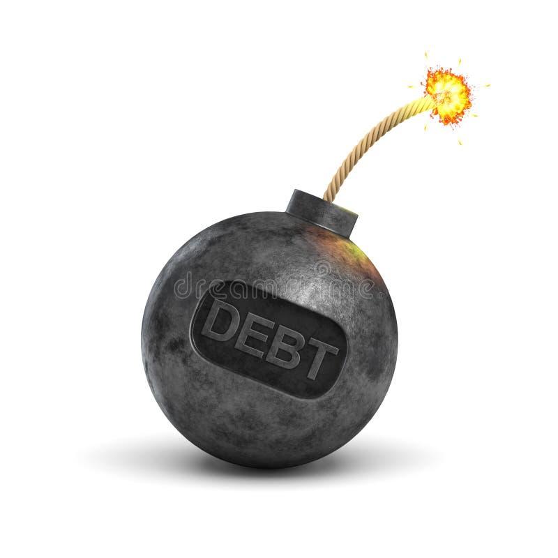 3d一个黑铁炸弹的翻译带有一根被点燃的保险丝的和它的表面上的文字债务在白色背景 向量例证