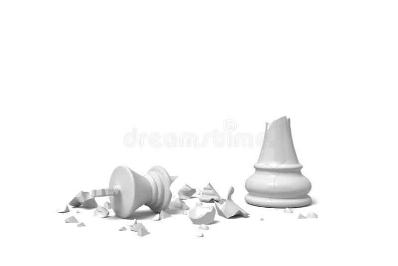 3d一位完全地残破的白棋国王的翻译在白色背景的瓦砾在 皇族释放例证