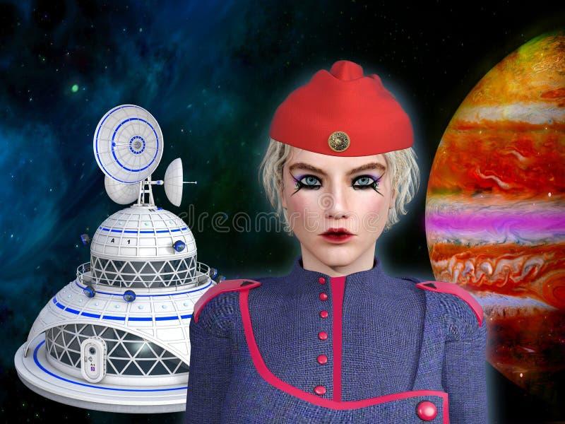 3D一位未来派女性starship司令员的例证 库存例证