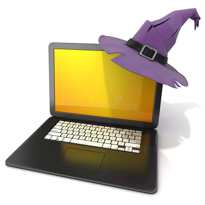 3D一台开放黑膝上型计算机的翻译与万圣夜上色了屏幕和紫色巫婆帽子 向量例证