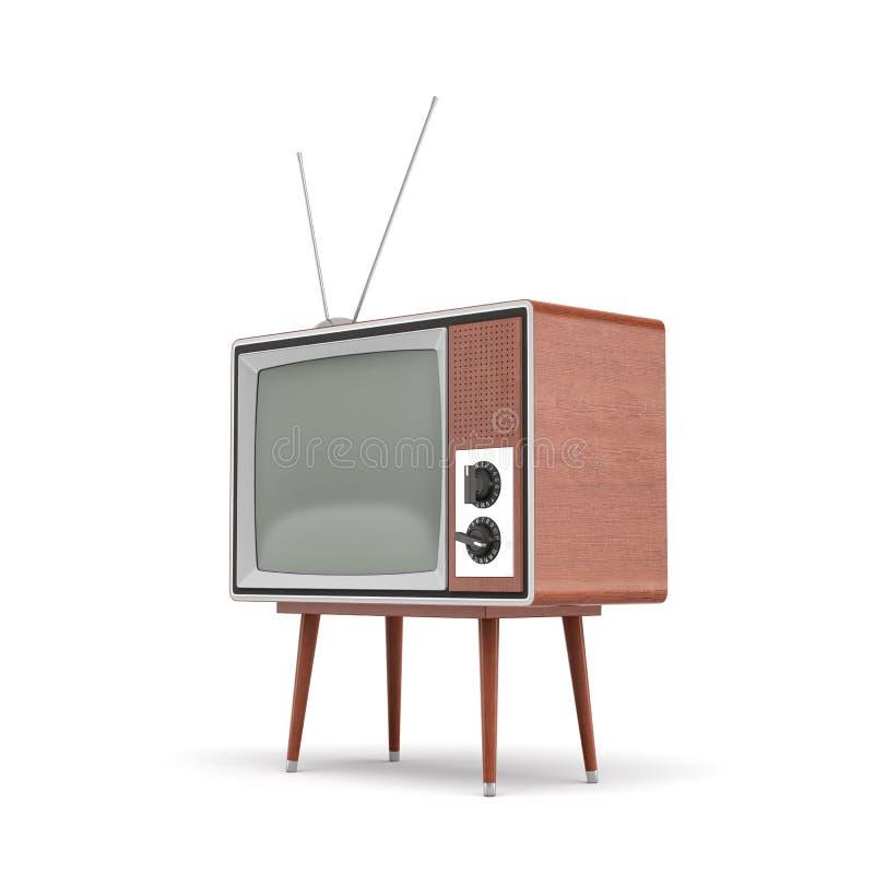 3d一台空白的减速火箭的电视机的翻译与天线的在白色背景的一张低四腿桌上站立 皇族释放例证