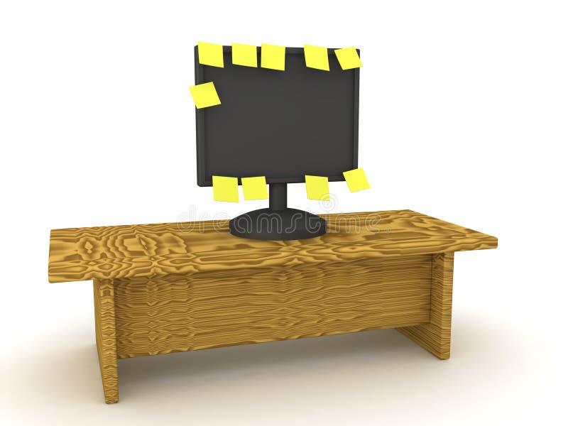 3D一台计算机显示器的例证与许多黄色稠粘没有的 向量例证