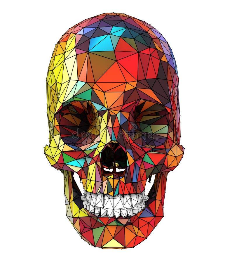 3d一块人的头骨的例证有五颜六色的低多表面的 向量例证