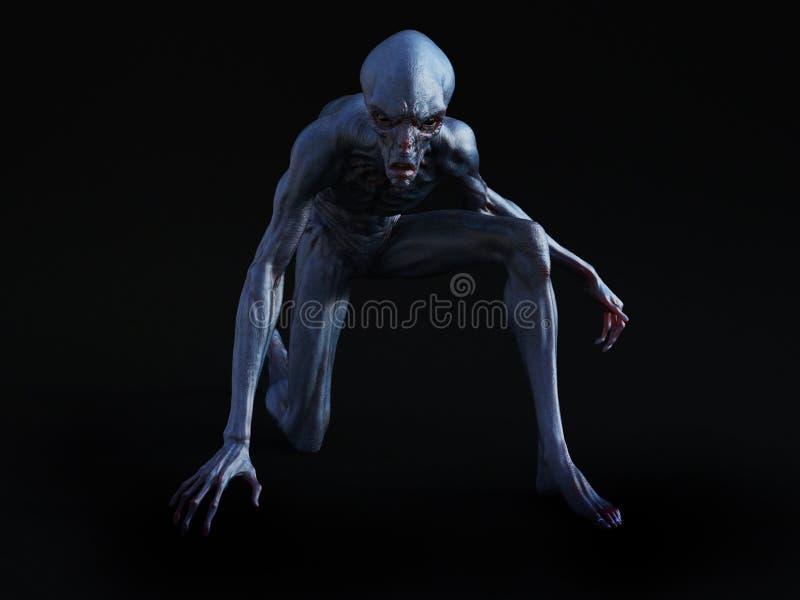 3D一外籍人生物蹲下的翻译 库存例证