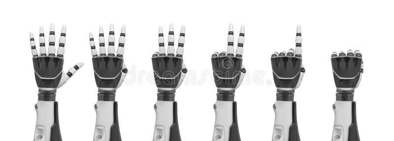 3d一套的翻译从从拳头的后面显示的机器人手到非常突出几个的手指  库存例证