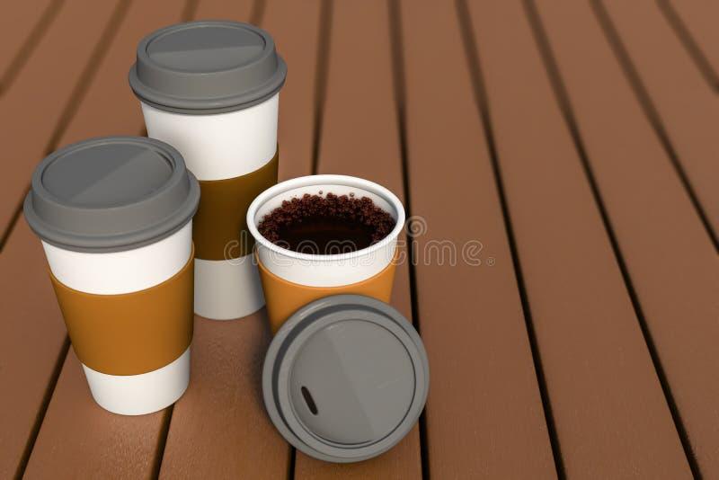 3d一套的翻译咖啡杯各种各样的大小 皇族释放例证