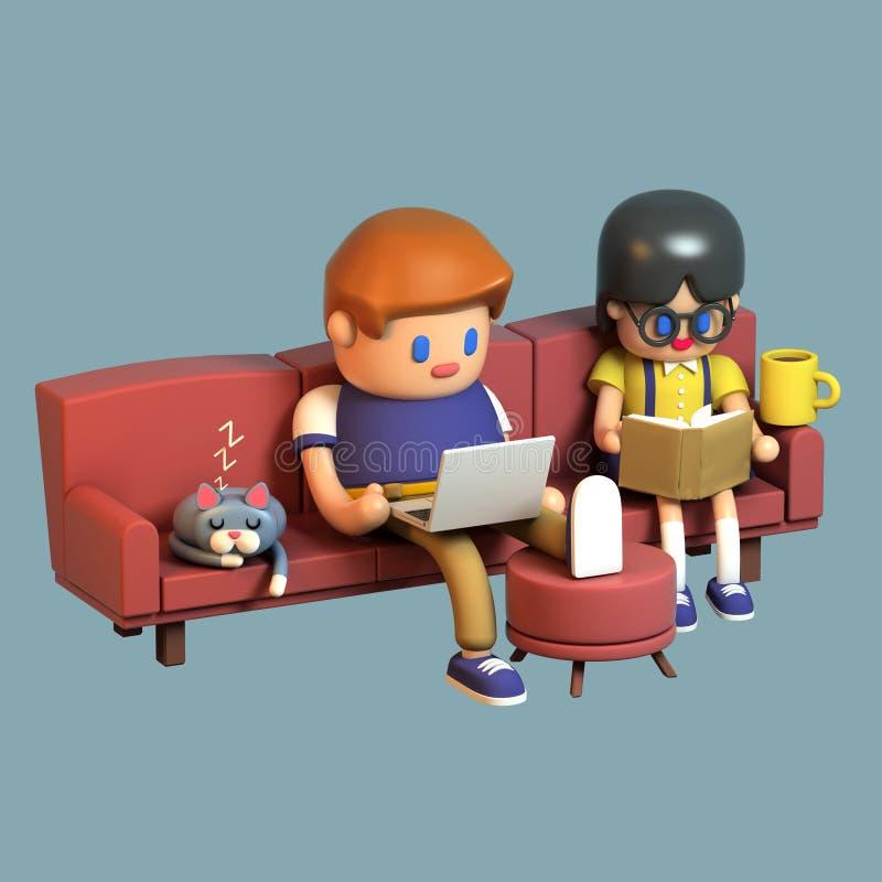 3d一对少年夫妇的翻译一起坐长沙发 库存例证